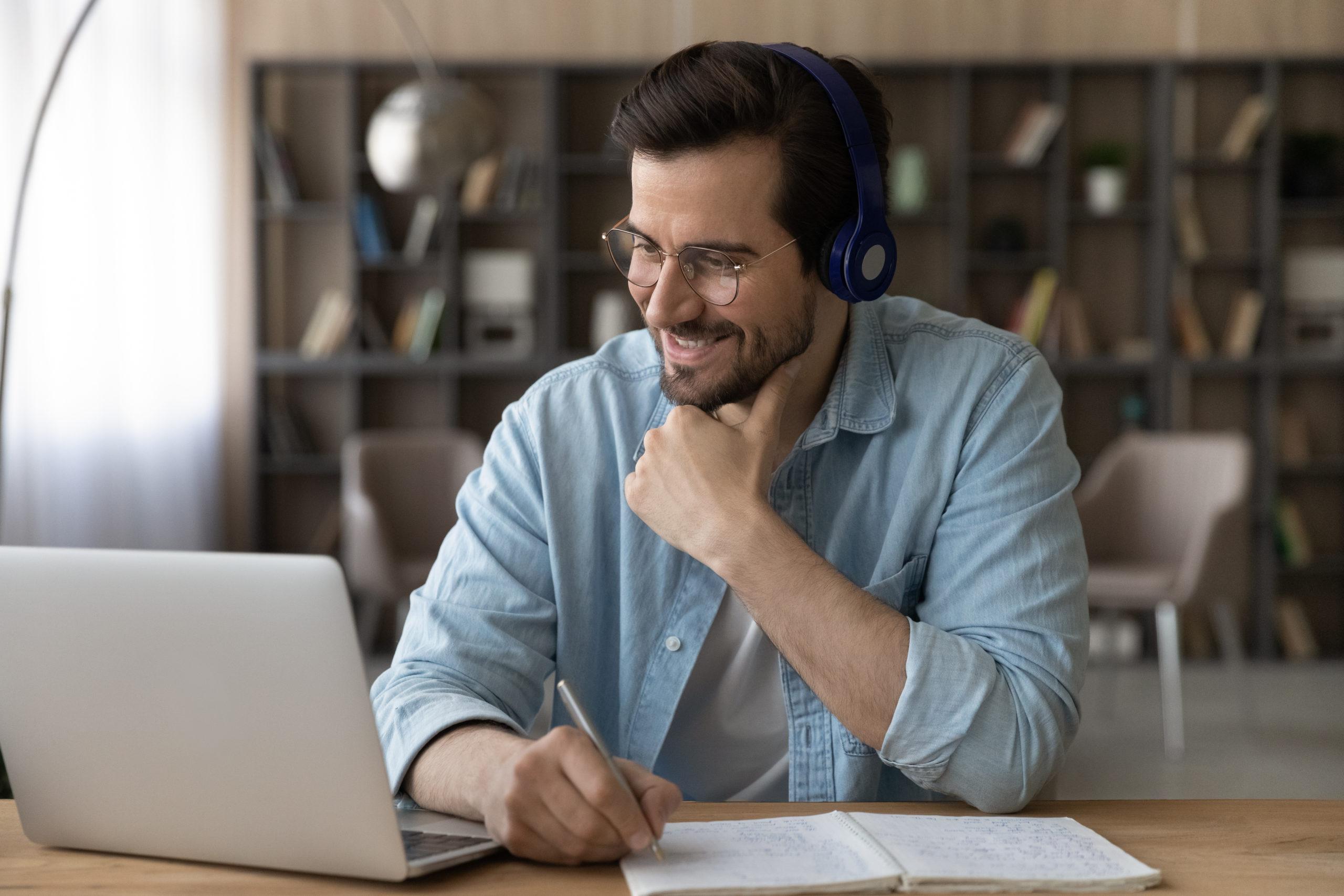 Bidl eines Teilnehmers eines Online-Kurses
